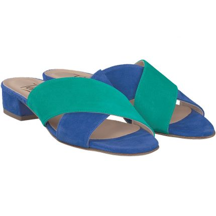 Terry - Pantolette in blau + grün
